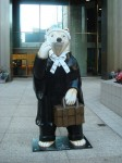 This polar bear 'brief' in Vancouver is probably the world's only cool lawyer. Credit: photo courtesy Claire Dancer, Flickr
