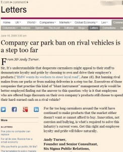 Company car park ban on rival vehicles is a step too far FT.com