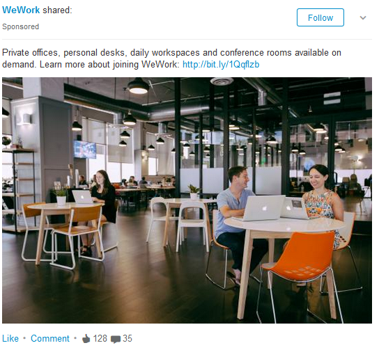 WeWork sponsored LinkedIn post